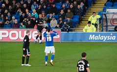 Vuckic Eventually Does His First Ayatollah (joncandy) Tags: city wales photo football championship image stadium soccer cardiff picture peterborough bluebirds ayatollah ccfc joncandy vuckic