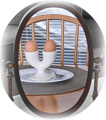 3274. Oval x 7. 89/366 (Di's Eyes) Tags: reflection mirror plate spoon eggs oval odc eggcup tablemat chairback 89366
