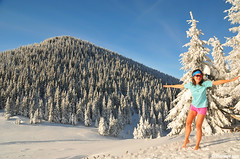 ,   (.:: Maya ::.) Tags: winter woman snow girl fun woods day young peak sunny bulgaria barefeet copy     mayaeye mayakarkalicheva
