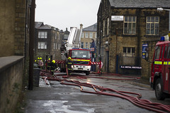 keighley fire (Elliot young) Tags: blue red west fire lights bradford photos yorkshire flames pipes engine down gone burning crew burnt flashing hoes bulding keighley