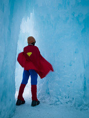 Superman (Arina Habich) Tags: blue winter red white man male tower ice nature water person one 1 frozen costume colorado dynamic tunnel structure superman formation massive hero superhero cape strong february icicles pathway winterwonderland 2012 fortressofsolitude silverthorne icecastles