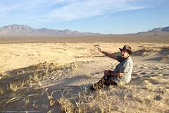 Nick Richardson at Kelso Dunes in desert in Mohave Preserve.