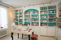 """Her Caribbean blue accented office • <a style=""""font-size:0.8em;"""" href=""""https://www.flickr.com/photos/75603962@N08/6942305233/"""" target=""""_blank"""">View on Flickr</a>"""