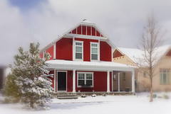 Red Gambrel Roof House (Photo Dean) Tags: winter usa house snow home utah ut colorful redhouse newhouse daybreak sunnyday 2012 southjordan winterday gambrel saltlakecounty eastlakevillage daybreakhomes