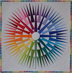 Rainbow Compass Mini Quilt: Front (jenjohnston) Tags: rainbow quilt mini kona solid paperpieced freemotion pebblequilting