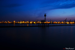 Hamburg Harbour At Night (Benjamin von Tilly Kistner) Tags: city travel light sea sky color tourism water architecture night contrast river germany de geotagged deutschland photography eos lights licht harbor canal photo colorful meer wasser europa europe nacht harbour crane hamburg bluesky german architektur bluehour kanal dmmerung blau hafen fluss farbe kran canoneos schiff farbig elbe tourismus lichter nachtaufnahme wather habour nachts habor norddeutschland blaue blauestunde beleuchtet romantisch daemmerung geologicalformation grosstadt canoneos60d eos60d mygearandme mygearandmepremium ringexcellence