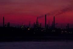 Dark Machines (ian boyd) Tags: sunset chimney mystery dark lights smoke isleofwight solent machines fawley