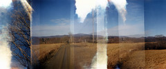 flawed frames from stratton road (candace hope) Tags: 120 mediumformat holga ishootfilm westernmassachusetts happyaccidents overlap splitframe overlappingframes williamstownma fujipro thewinterwithoutsnow strattonroad february2012