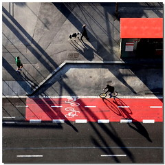 With legs, with dog, with bike .. with shadows (Nespyxel) Tags: barcelona street red lines bike square spain shadows pov perspective ombre pointofview lookingdown runner rosso barcellona spagna nespyxel stefanoscarselli