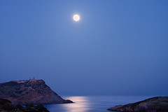 perigee supermoon 2012 - overview (helen sotiriadis) Tags: sea sky moon seascape reflection water canon landscape glow greece sounion perigee canon70200f28lisusm canoneos40d supermoon