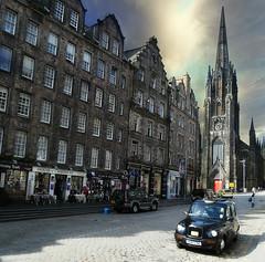 Royal Mile, Edinburgh (janetfo747 ~ Dreaming of Africa) Tags: edinburgh day cloudy taxi royalmile oldtown scoutland impressedbeauty
