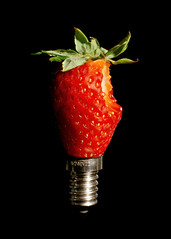 untitled (brescia, italy) (bloodybee) Tags: light red stilllife food black green lamp leaves metal fruit bulb fun screws grey idea strawberry humor gray eat bite 365project