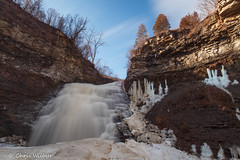Blue Skies over Rockway (awaketoadream) Tags: morning blue winter sky ice water waterfall long exposure niagara falls lincoln february escarpment rockway