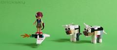 An Unexpected Encounter (Bricksky) Tags: friends cow lego jet emma glider moc bricksky legoelves