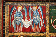 Thirteenth century Romanesque carved and painted altar front with scenes depicting the Archangels from a church in Catalunya , Spain.  National Art Museum of Catalonia, Barcelona. Ref: MNAC 3913 (Irina Zavyalova) Tags: wood art painting religious catholic panel artistic interior painted medieval historic christian altar historical romanesque iconic middleages fresco figurative iconography tempera frescoes iconographic liturgicaldecoration