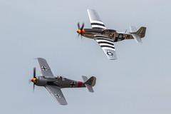 German AF Focke-Wulf Fw.190A-8 N190BR with USAAF North American P-51D Mustang 44-15267/N51KB 'G4-M' (Hugh Dodson) Tags: saturday ypsilanti mustang p51d aintmisbehavin willowrun northamerican usaaf fw190a8 fockewulf g4m germanaf n51kb n190br thunderovermichigan2015 4415267