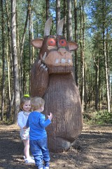 With Purple prickles (Tony Shertila) Tags: wood trees england weather statue forest out europe day cheshire britain outdoor clear mere gruffalo childen delamere 20160423125844