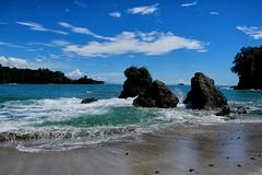 Park beach (halifaxlight) Tags: blue sea beach clouds costarica rocks surf waves pacificocean manuelantonionationalpark manuelantonio