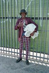 Man with bedroll (ADMurr) Tags: leica hat project la kodak explore 400 40mm plaid ok m6 dtla rokkorc