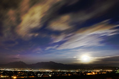 Sleepy Summer Night (JasonCameron) Tags: houses summer sky moon lake mountains night clouds lights utah long exposure smoke salt twinkle neighborhood valley suburb