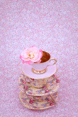 trio of teacups and rose (photoart33) Tags: pink stilllife flower rose pretty teacup chintz