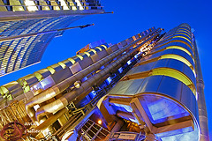 London Futuristic Blue (david gutierrez [ www.davidgutierrez.co.uk ]) Tags: city uk blue light sky urban building london art architecture modern night skyscraper design engineering architect futuristic lloyds richardrogers