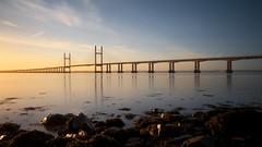 Y e l l o w   E x p l o s i o n (ƇĦŘĺς ΛΨŁЩΛŘĐ ƤĦŎŦŎƓƦΛƤĦϔ) Tags: bridge winter england beauty sunshine wales architecture sunrise river bristol early colours crossing motorway south estuary severn gateway waters welsh m4 vast spanning sudbrook redwick hdcymru