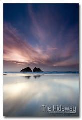 Holywell sunset (Simon Bone Photography) Tags: sea sky cloud sun reflection beach silhouette sand cornwall newquay wetsand holywellbay cornishcoast canon1740mmlf4 cornishsunsets wwwthehidawaycouk canoneos7d hitechnd09reversegrad