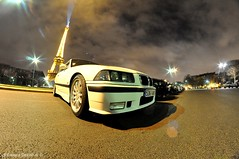Bmw E36 Family in Paris (ZellusCars) Tags: paris night gold tour performance meeting m concorde bmw shooting m3 rims bbs ch 1m combo e46 e36 e92 eifflel