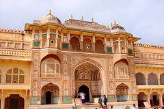 2734 Amber Palace Jaipur, Rajasthan (Traveling Man - Almost Heaven, West Virginia) Tags: india lake alan temple amber sandstone fort indian capital courtyard palace tourist marble hindu chanda jai jaipur raja rajasthan ii amer singh chaitanya subcontinent rajput city india south sawai palace hallofprivateaudience hallofpublicaudience canonef24105mmf4lisusm republic gate diwaneaam canoneos50d pink asia raja maharaja kachhawa mirror maota devi   rajput maharajas ganesh sila mansingh