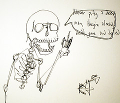 dead men are assholes (Kevin Franz and The Monster Party) Tags: man men ink dead skeleton bury buried drawing asshole sharpie behind left