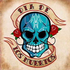 day of the dead (robolove3000) Tags: rose tattoo photoshop dayofthedead skull flash parchment hotrod ribbon vector pinstripe coreldraw