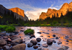 Glow After the Storm (David Shield Photography) Tags: california trees sunset sky storm color reflection water clouds river landscape nationalpark nikon rocks glow explore yosemite elcapitan valleyview yosemitevalley mercedriver easternsierras explored bestcapturesaoi elitegalleryaoi