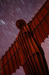 Heaven Sent (AndWhyNot) Tags: sculpture art public angel night stars star long exposure heaven contemporary north trails gateshead anthony gormley celestial startrails angelofthenorth stargazing skywatching 8333