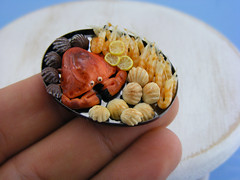 (Shay Aaron) Tags: food fish dinner miniature handmade salmon crab prawns mini clam gourmet polymerclay fimo tiny deli seafood oysters appetizer mussel scallop crustacean 12th 112 luxury lux platter preparation dollhouse petit oneinchscale shayaaron scaleoneinch