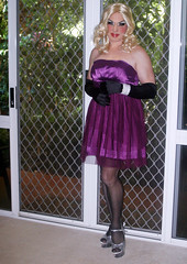 Purple Satin Dress (Christine Fantasy) Tags: dress chiffon makeup christine transvestite satin crossdresser transsexual shemale