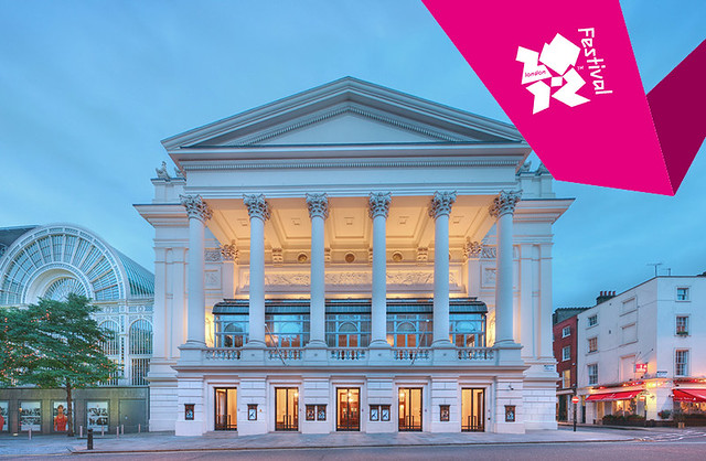 Royal Opera House with London 2012 ribbon © ROH 2012