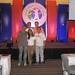Mestre de Cerimônias Lucila Pinto com a diretoria da Santher