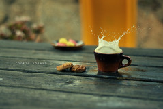 Milk splash (hoseya) Tags: cookies 50mm milk bokeh cups tables splash nikond90 capturenx2 cookiesplash