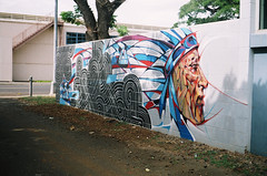 SHORTY FATZ (JosephAbad) Tags: streetart film analog 35mm graffiti hawaii iso200 paint spraypaint olympusxa2 fujisuperia yashicaelectro35gsn kakaako powwowhawaii