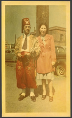 Kodacolor Shriner 1948 (reservatory) Tags: street portrait people man 1948 love found temple photo couple photos mason snapshot marriage sidewalk 1940s wife vernacular foundphoto forties kodacolor freemason bluecollar vintagephoto reservatory masonicshrine