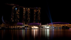 Marina Bay Sands - Three Towers, Lightshow, Singapore (atomicdots) Tags: marina lights singapore lasers lightshow threetowers marinabaysands