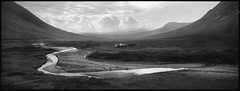 lonesome (christian baron) Tags: bw panorama film nature analog scotland blackwhite kodak pano fineart grain places hasselblad glencoe xpan tmax100 jetset bwfilm mindinrewind
