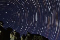 Startrail 3-29-14 ojito (CaptDanger) Tags: longexposure newmexico color rock canon stars iso800 rocks iso clear nm 800 stackedimages clearsky startrails ojito 30secondexposure northstar f20 canon35mm noclouds starcircle intervalometer newmexicoskies colorfulstars ojitowilderness startrailsexe canont2i nmwilderness guadalupebluffs