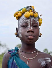 Mursi Tribe, Ethiopia (Rod Waddington) Tags: africa portrait people girl face costume child outdoor african painted traditional culture tribal afrika omovalley ethiopia tribe ethnic mursi afrique ethiopian omo thiopien etiopia ethiopie