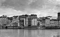 Arno River (William MacGregor) Tags: city houses homes sky blackandwhite italy house home water monochrome skyline architecture clouds canon river florence italian europe italia european cityscape waterfront image outdoor ngc infrastructure 5d arno dslr cityview twop damncool 50d twtp yourbestoftoday macgregorwilliam