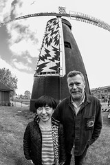 Wakako Kishimoto and Mark Eley of Eley Kishimoto, the brains behind the sails design and the sail project- note the matching jacket. (Owen Llewellyn) Tags: london heritage windmill canon design sail southlondon brixton kishimoto brixtonwindmill eley brixtonhill friendsofwindmillgardens owenllewellyn cygnusimaging