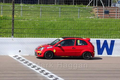 Bradley Burns in Fiesta Junior Championship at the BRSCC Weekend at Rockingham, May 2016