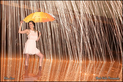 Golden Rain - Epic Steel Wool Photography (Mark Birkle) Tags: light summer woman hot reflection wool water beautiful rain wall female night creek umbrella pose outside fire photography gold golden photo interesting intense model stream warm long exposure image fireworks outdoor unique steel awesome young picture surface burning attractive sparks epic stonelick