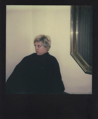 Day 050 (H o l l y.) Tags: impossible project polaroid instant photo analog self portrait girl black dress mirror contemplative blonde fashion retro indie vintage visit sad mindful time